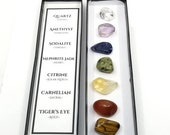 Chakra Crystal Set - 7 Healing Crystal Set - FREE SHIPPING - Quartz, Amethyst, Sodalite, Jade, Citrine, Carnelian Tiger 39 s Eye included