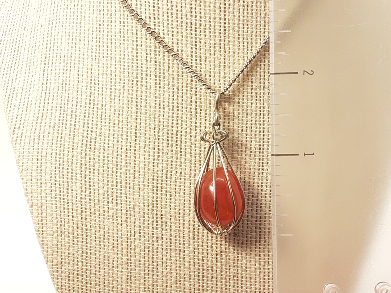Carnelian Crystal Teardrop Necklace Handcrafted Wire Wrapped FREE Crystal Gift with purchase FREE SHIPPING 100/% Natural Stone