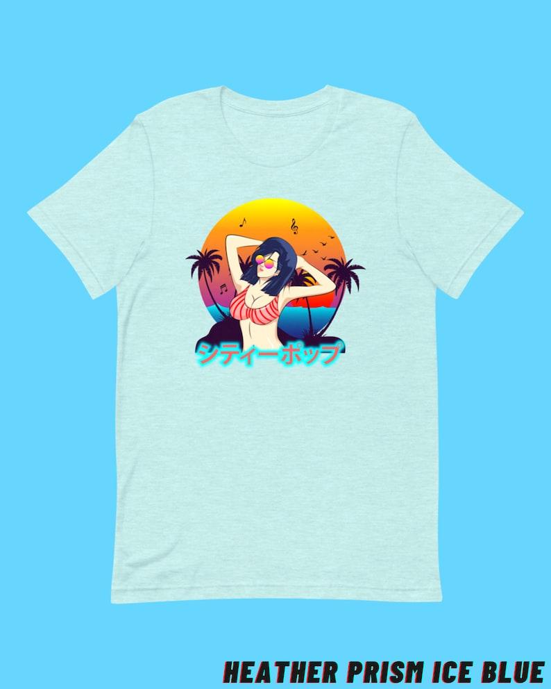 Summer Vibes City Pop Women\u2019s T-Shirt  High-quality Tee For Ladies  Kawaii Japanese Street Fashion  Retrowave /& Vaporwave Aesthetics