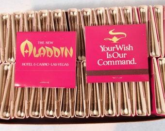 4 vintage casino matchbooks aladdin las vegas advertising fresh from box