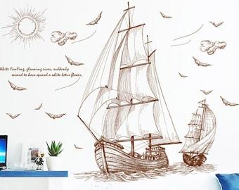 Home Decor Decals BVintage Lighthouse Seagulls Sailing Ship Ocean Wall Sticker.