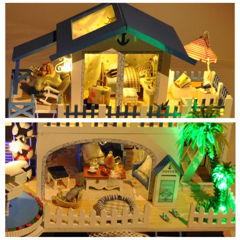 DIY Doll House Kit DIY Wooden Miniature Doll House Kit Loft Apartment With Light Kids Adult Craft Gift Decor\uff08Blue Melody\uff09