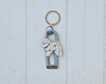 A key pendant with a Chow chow dog A new collection with the geometric dog Dog keyring for dog lovers