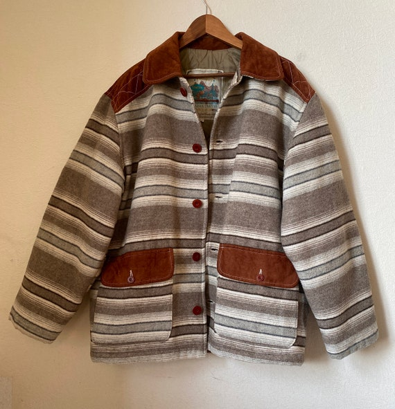 80s Vintage Wool Blend Coat Navajo Blanket Stripe