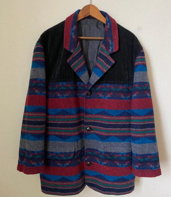 Vintage Navajo Aztec Jacket Wool Blend Coat Navajo