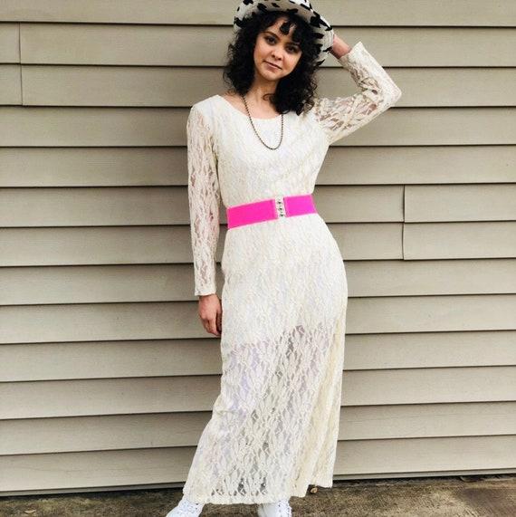 1990's Vintage Cream Lace White Maxi Dress - M