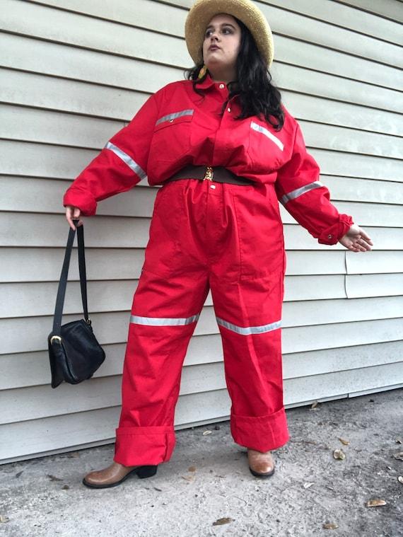 Red Reflective Canvas Work Wear Coveralls - XXL XX