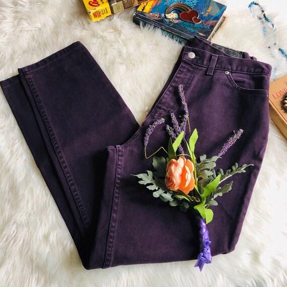 90's Plum Grape Purple Cotton Denim Mom Jeans Fade