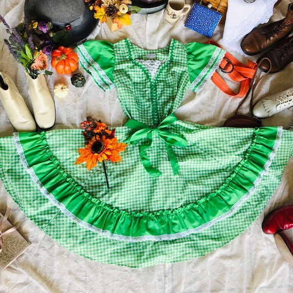 Vintage Key Lime Gingham Square Dance Dress - XS