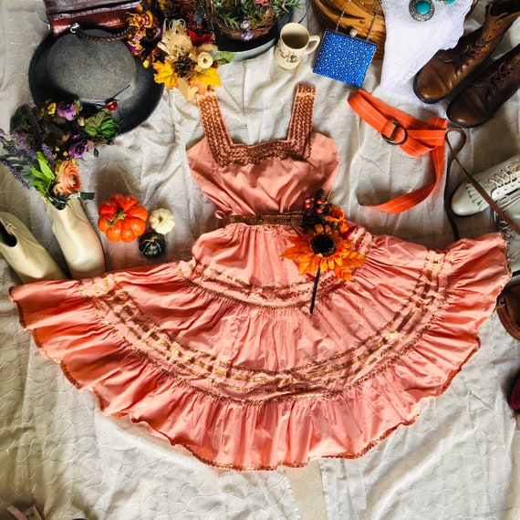Vintage 1970s Rose Gold Tiered Square Dance Dress