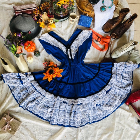 Vintage Blueberry Lace Square Dance Dress - M