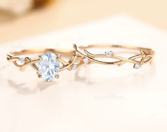 Vintage Moissanite Twig Engagement Ring Set Rose Gold twig Ring For Woman Anniversary Ring Twisted Ring