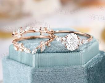 Oval Moissanite Engagement ring set Leaf Moissanite ring Vintage Enhancer Wedding Band Unique Diamond Cluster ring Anniversary ring
