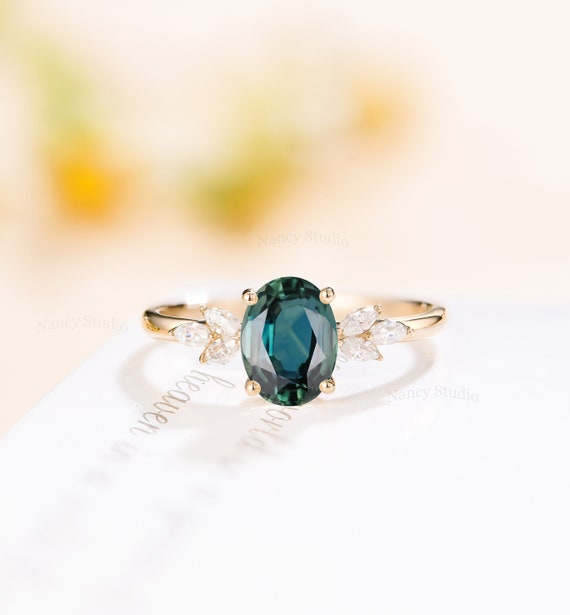 Teal Sapphire Engagement Ring Unique Blue Green Sapphire Ring Etsy