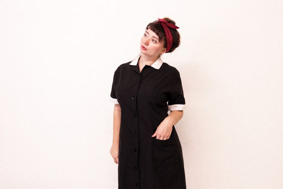 1960s White and Black Uniform Dress with White cuf
