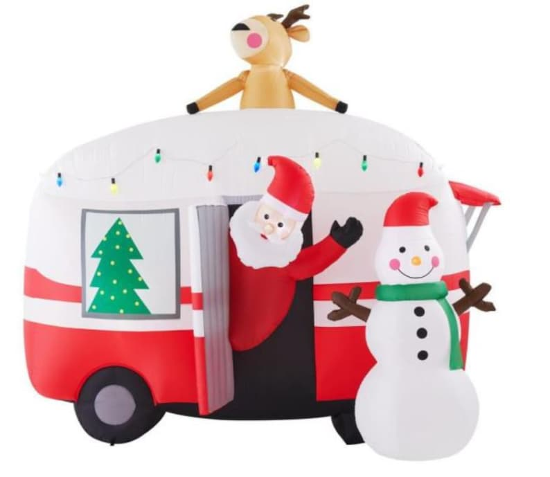 Pre-Lit Inflatable Jolly Holiday Camper With Santa And Snowman