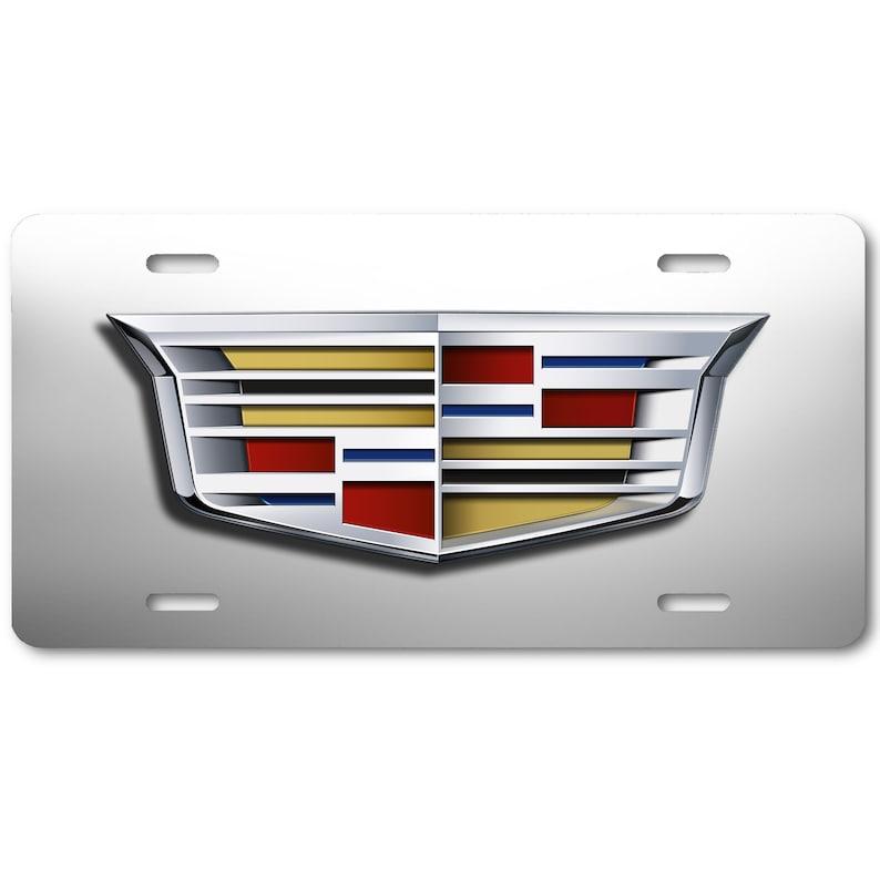 Cadillac Logo Inspired Art on White /& Gray Aluminum Novelty Auto Car License Tag Plate