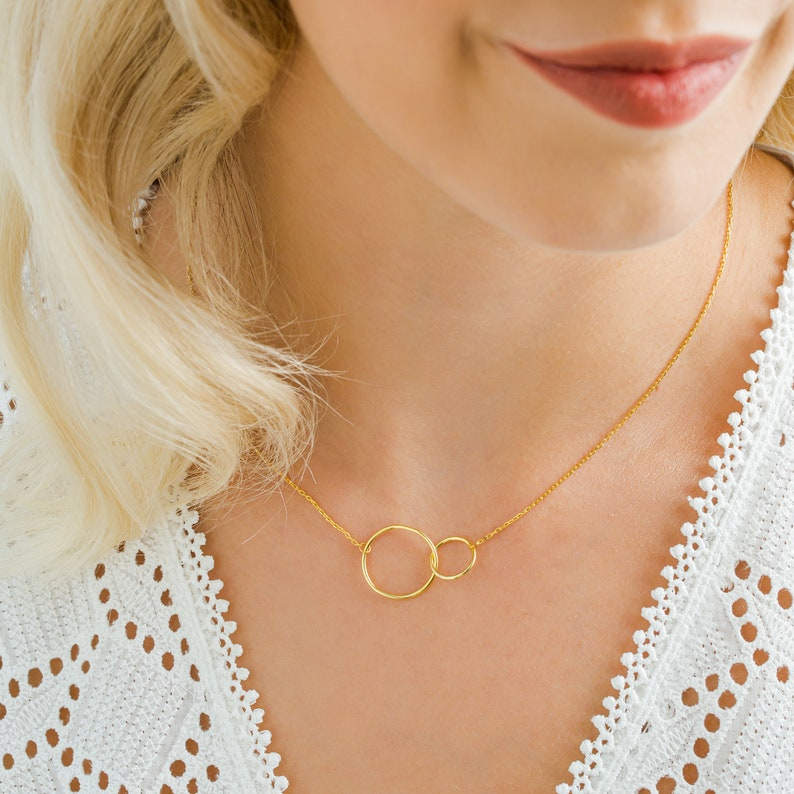 Double Circle Pendant Necklace Infinity Necklace Interlocking Circle Necklace Gift for Her