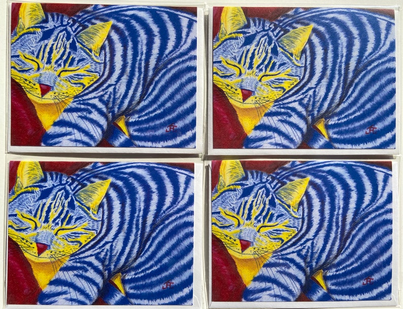 sleeping content yellow and blue cat Note Cards of my colored pencil drawing Nap Time set of 4