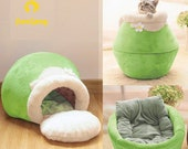 Winter Warm Thick Pet Cat Bed, Soft Plush Portable Foldable Cute Cat Kitten House Cave, Small Medium Dog Sleeping Bag Cushion