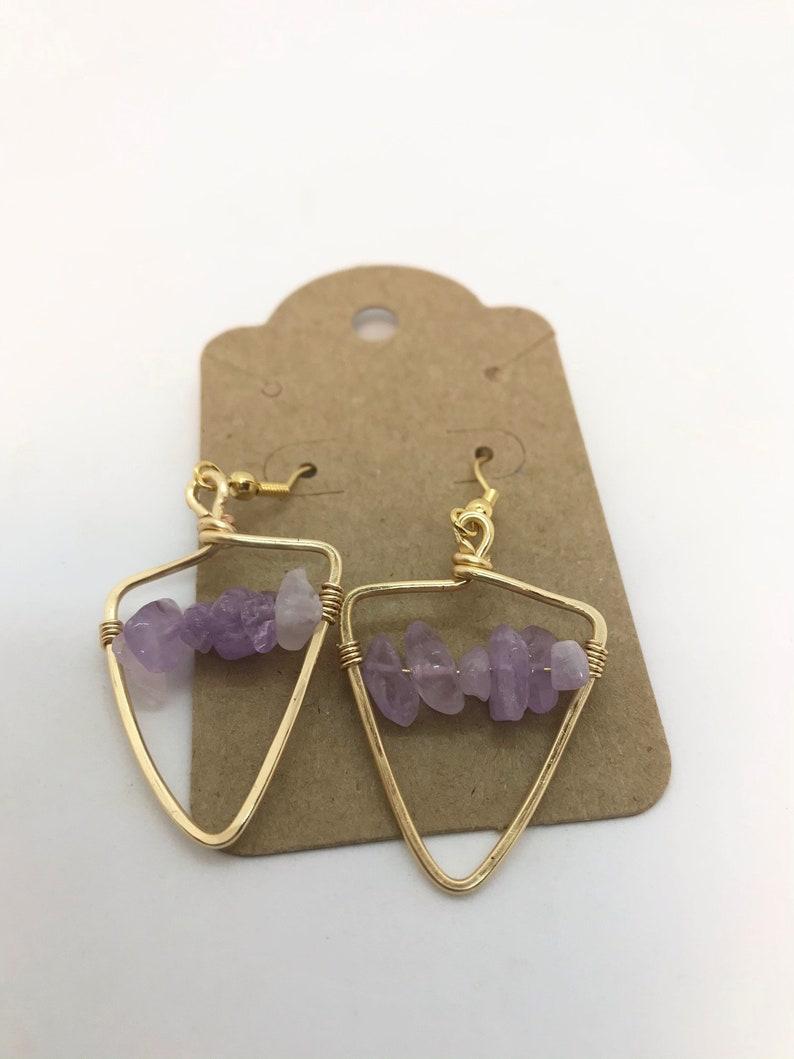 Friend Jewelry Boho Earrings Jewelry gift for her Amethyst Jewelry Wire Wrapped Gemstone earrings Amethyst Geometric Wrapped Earrings