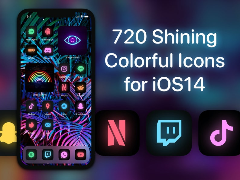 720 Rainbow Shining App Icon Covers for iOS 14 Home Screen image 0