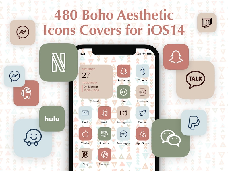 480 Boho Aesthetic iOS 14 App Icons Pack  Natural Pastel image 0