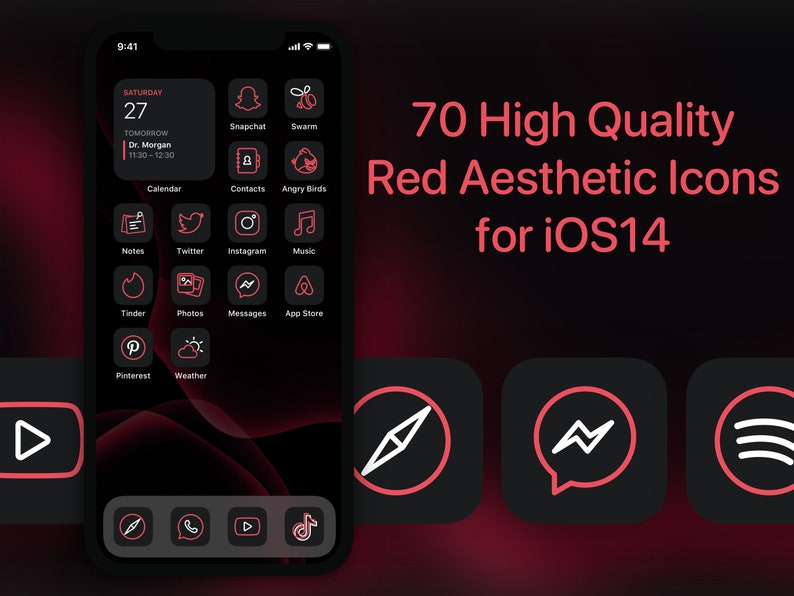70 Red App Icon Covers for iOS 14 Home Screen image 0