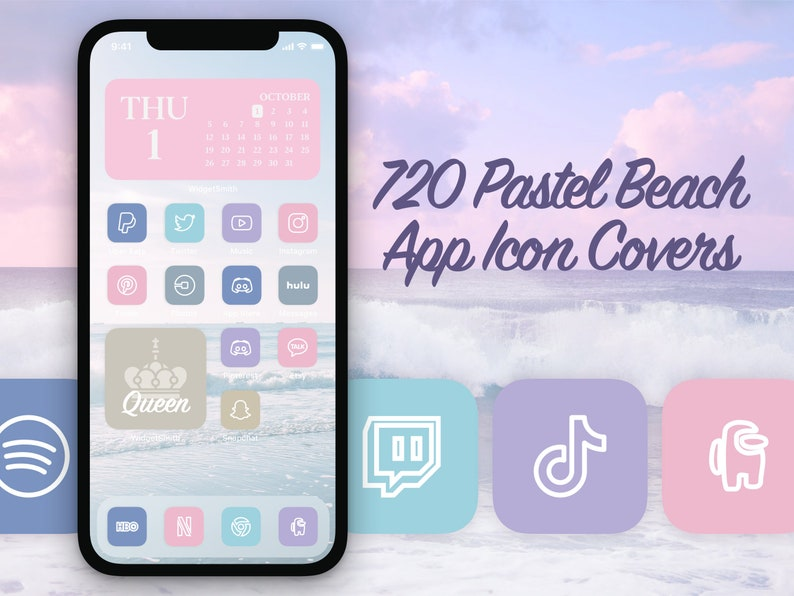 720 Unique Pastel Beach Aesthetic iOS 14 App Icons for your image 0