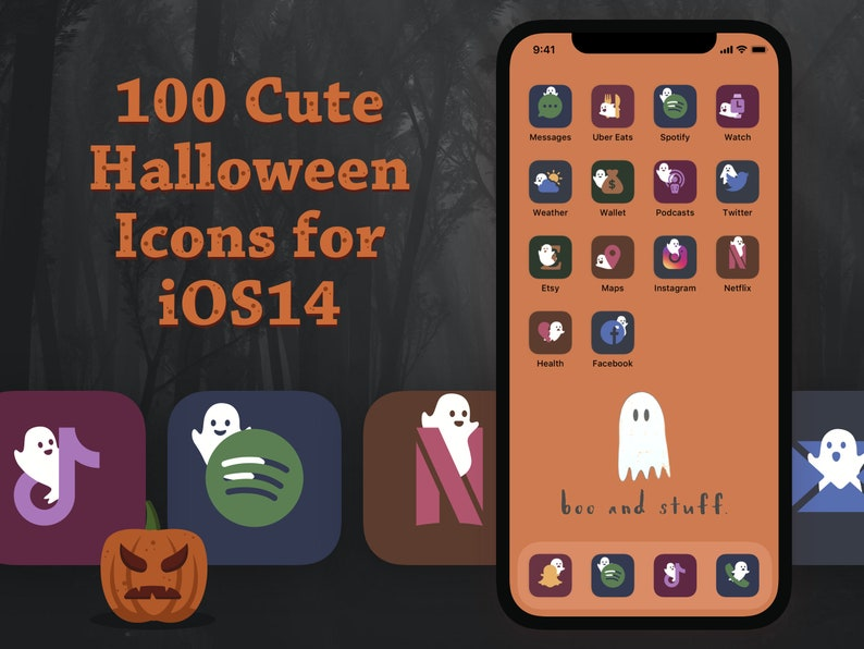 100 Cute Halloween iOS14 Icons pack with a Ghost for your image 0