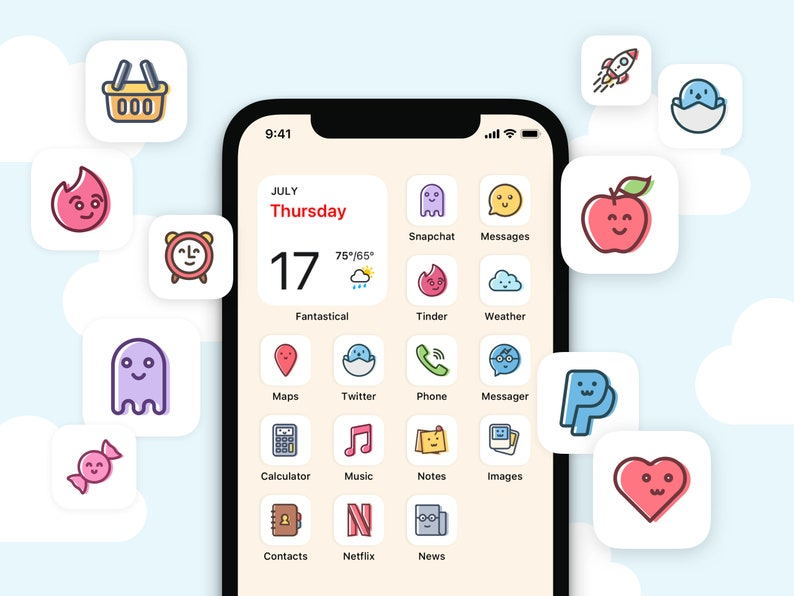 100 Cute Kawaii iOS14 App Covers  Doodle & Cartoon Aesthetic image 0