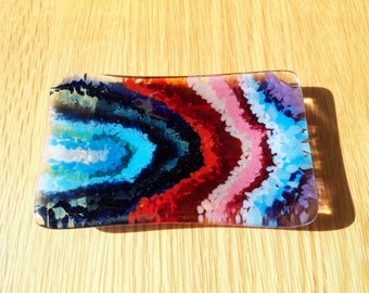 Handcrafted Blue, Pink, Red, Purple Fused Slumped Glass Trinket Dish, Tray, Bowl, Jewellery, Soap, Butter, Small Appetisers Dish
