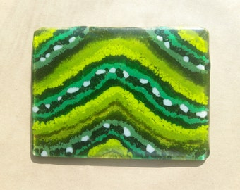 Handcrafted Fused Glass Green Tablemat