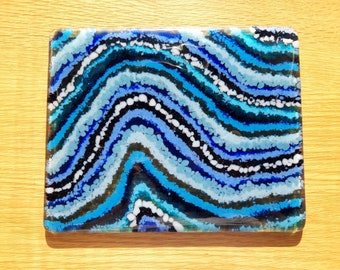 Handcrafted Fused Glass Blue Tablemat, Abstract Ocean Placemat