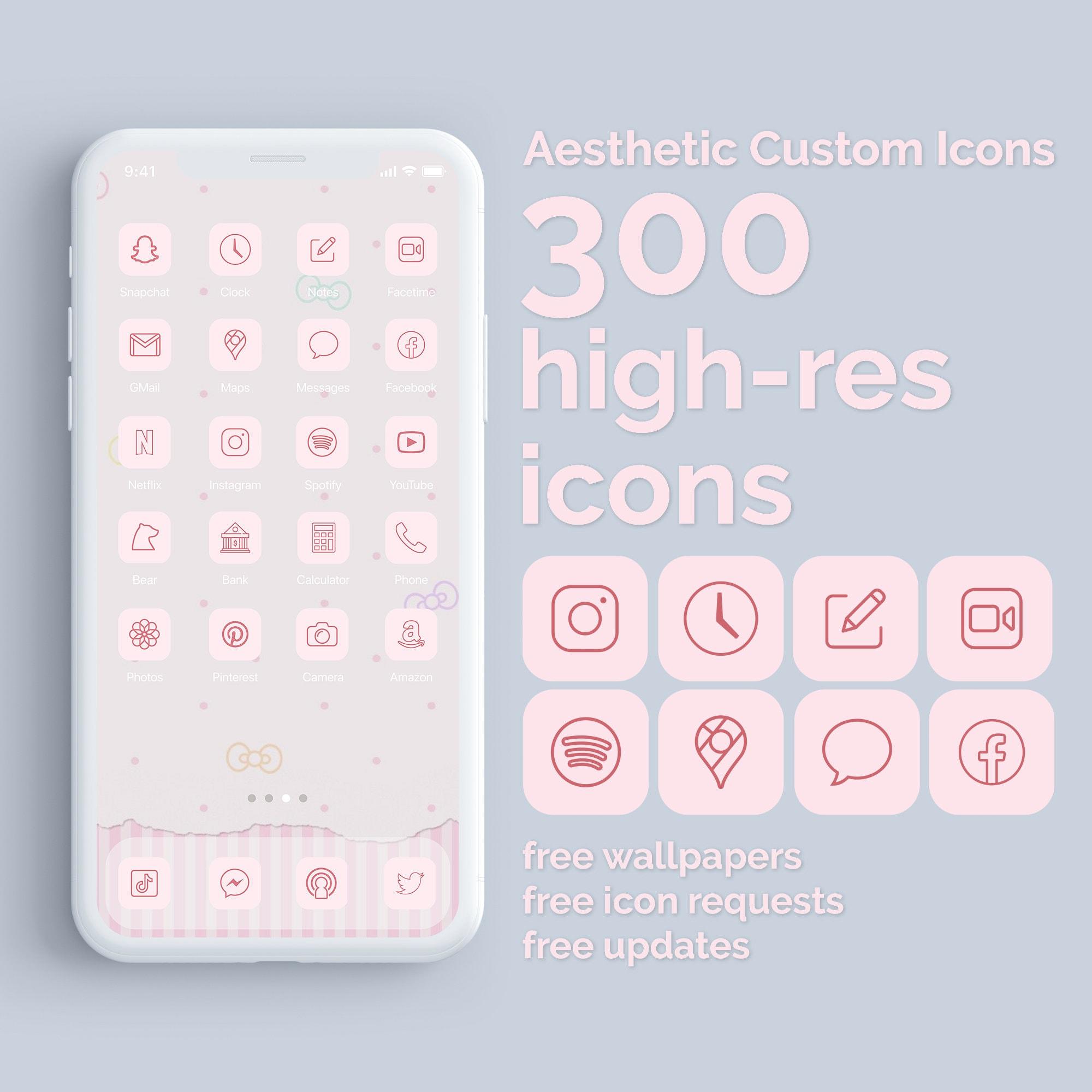 Cherry Blossom Crush   21 Aesthetic Custom App icons   iPhone iOS 21    Valentine   Minimal App Covers   Cute and Trendy   Kawaii Japan