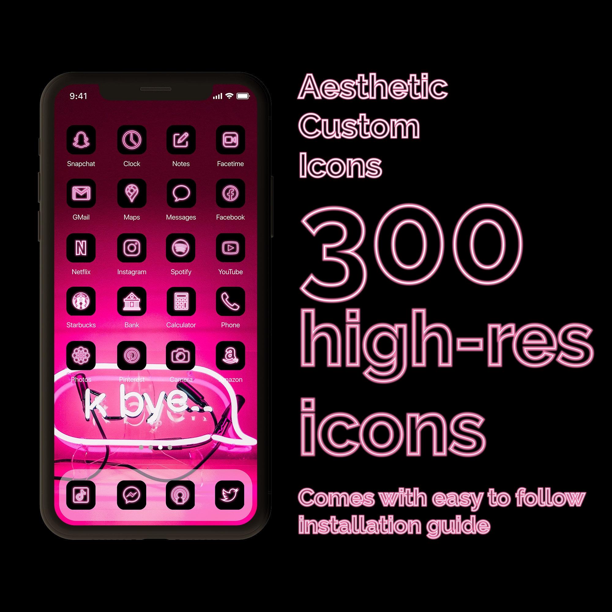 Neon Pink   21 Aesthetic Custom App icons pack   iPhone iOS 21   Minimal  App Covers   Minimalistic Retro   Futuristic   Wallpapers