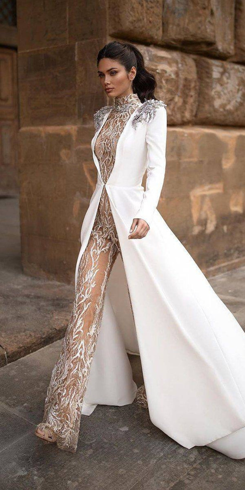 two  pieces wedding jumpsuit/jumpsuit with jacket/wedding image 0