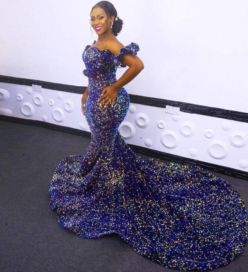 Sequins wedding dress/sequins prom dress/African wedding image 0