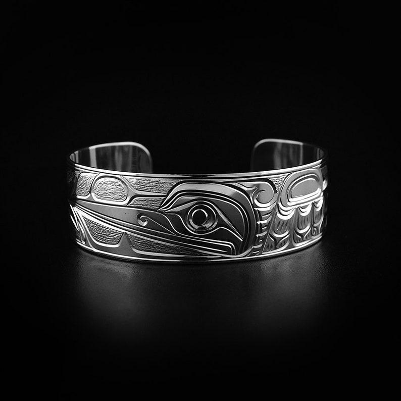 Kwakwaka/'wakw Hand Carved Sterling Silver 34 Hummingbird Bracelet Indigenous Jewellery Northwest Coast First Nations