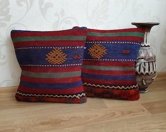16x16 Pair Pillows Cushions Pair Cushions Pair Pillows Kilim Pillow Cover Vintage Set 2 Pillows Set of Two Pillows Pair Pillow Covers
