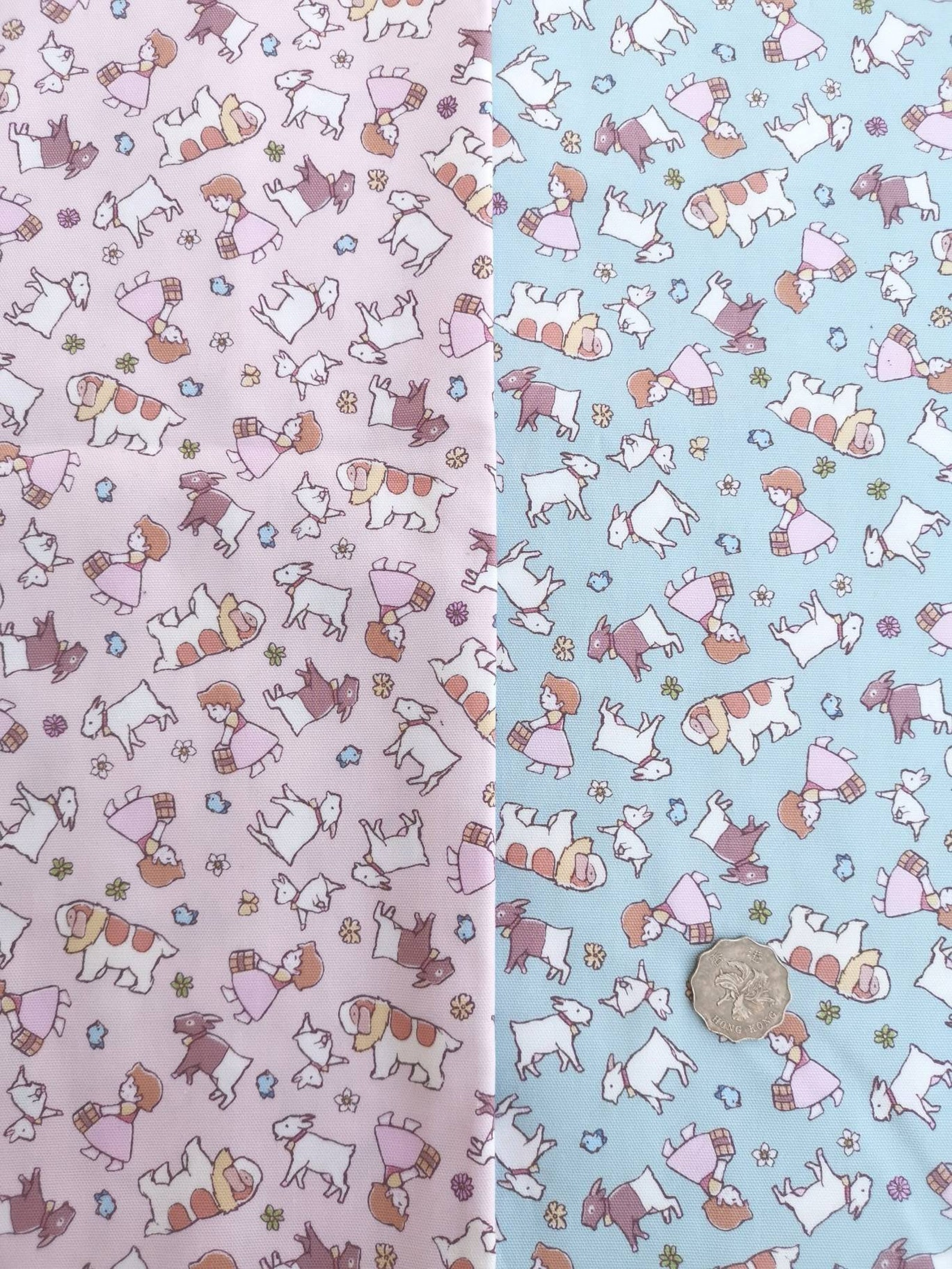 Cotton Fabric - Heidi, Girl of the Alps Fabric Made in Japan Sheep