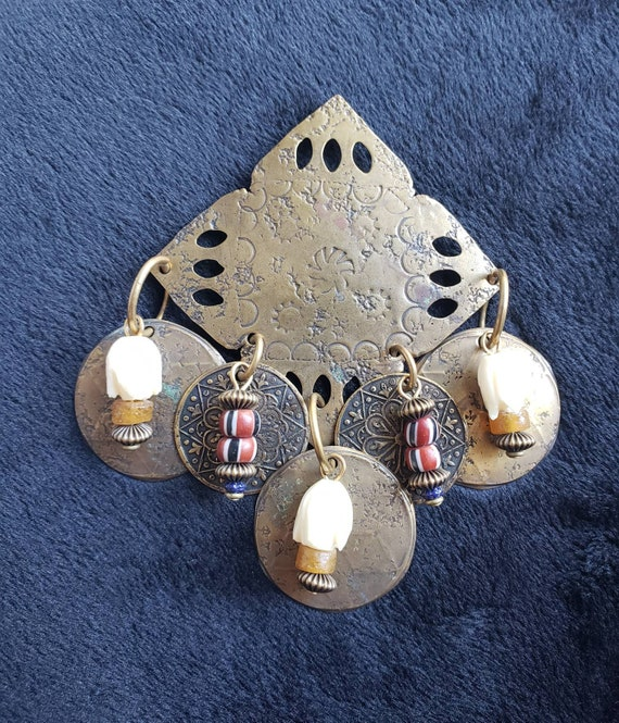 Large Marjorie Baer Brass Brooch Bone Beads Stamped M BAER ACC San Francisco S.F.