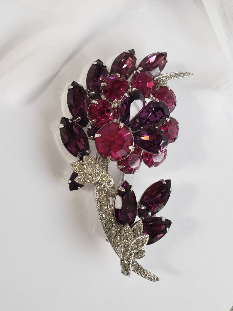 Purple and Clear Rhinestone Crystals in Rhodium Plate Large Brooch signed and numbered 6197 Eisenberg Ice Hot Pink