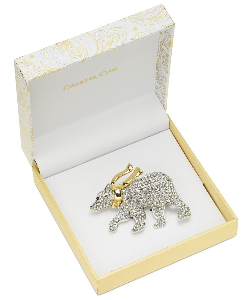 Polar Bear Pin With Crystals