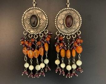 Designer Garnet Jhumka Jewelry Garnet Earring Ethnic Earring Jewelry TE-1001 Indian Jhumka Earring Tribal Earring Lovely Gift
