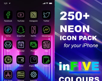 250+ iOS Neon Icon Pack   All Access Pack   iPhone IOS14 App Icons Pack   Aesthetic Home Screen   iOS 14 Widget Photos   Widgetsmith