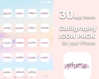 iOS Calligraphy Cursive Icon Pack   All Access Pack   iPhone IOS14 App Icons   Aesthetic Home Screen   iOS 14 Widget Photos   Widgetsmith