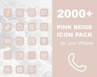 2000+ iOS Light Pink Beige Icon Pack   All Access Pack   iPhone IOS14 App Icons Pack   Aesthetic Home Screen   DIGITAL DOWNLOAD