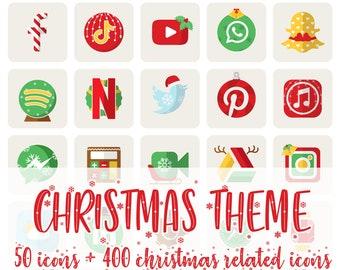 White Christmas iOS Icon Pack   All Access Pack   iPhone IOS14 App   Aesthetic Home Screen   iOS 14 Widget Photos   Widgetsmith