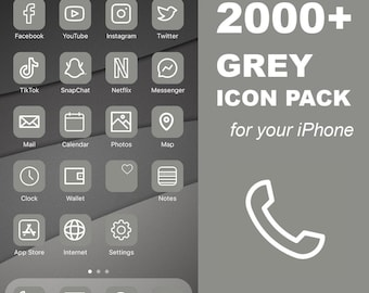 2000+ iOS Grey Icon Pack   All Access Pack   iPhone IOS14 App Icons Pack   Aesthetic Home Screen   iOS 14 Widget Photos   Widgetsmith